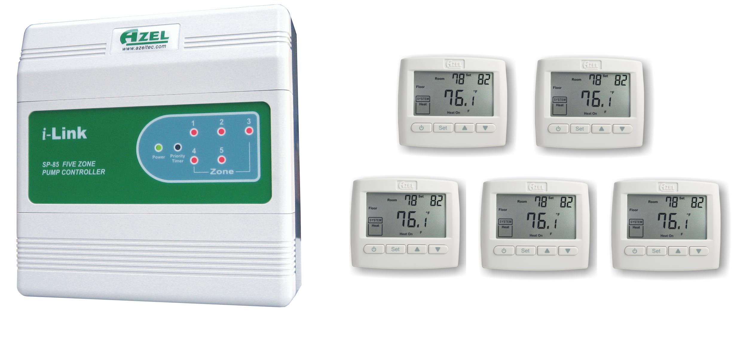 Package Deal: SP-85 with 5 units of D-508F Floor Heating Thermostats